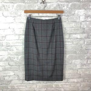 Glen Plaid Wool Midi Skirt   Brooks Brothers   0